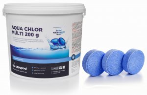 Chlor w tabletkach do basenu Blue 200g niebieska woda 5 kg