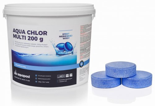 Chlor w tabletkach do basenu Blue 200g niebieska woda 3 kg